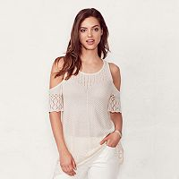 Women's LC Lauren Conrad Eyelet Cold-Shoulder Sweater
