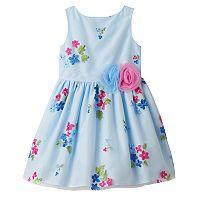 Toddler Girl Marmellata Classics Embroidered Flower Blue Dress