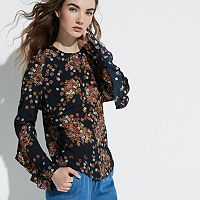 k/lab Floral Ruffle Open Back Top