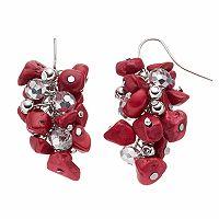 Red Bead Cluster Drop Earrings