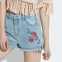 k/lab Floral Embroidered Fray Jean Shorts