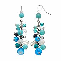 Blue Beaded Cluster Drop Earrings
