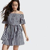 k/lab Gingham Off-the-Shoulder Dress