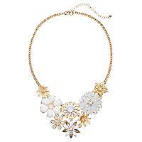 White Flower Bouquet Statement Necklace