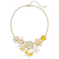 Yellow Butterfly & Flower Statement Necklace