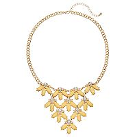 Yellow Marquise Flower Petal Statement Necklace