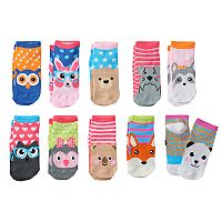 Girls 4-16 Pink Cookie 10-pk. Whimsical Animal Faces Low-Cut Socks