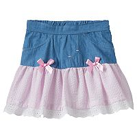 Baby Girl Nannette Seersucker Drop-Waist Chambray Skirt
