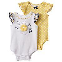 Baby Girl Nannette 2-pk. Daisy & Polka-Dot Bodysuits