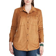 Plus Size Chaps Faux-Suede Long Sleeve Work Shirt
