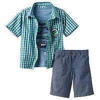 Toddler Boy Boyzwear Short Sleeve Plaid Button-Down Shirt, Car Graphic Tee & Chambray Shorts Set