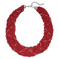 Red Braided Chunky Seed Bead Necklace