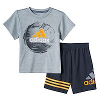 Baby Boy adidas Sports Ball Graphic Tee & Mesh Shorts Set
