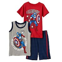 Boys 4-7 Marvel Captain America Tee, Tank Top & Shorts Set