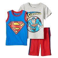 Boys 4-7 DC Comics Superman Tee, Muscle Tank Top & Shorts Set