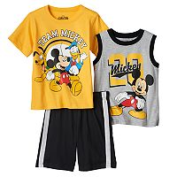 Disney's Mickey Mouse, Pluto & Donald Duck Todder Boy Tank, Tee & Shorts Set