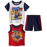 Toddler Boy Paw Patrol Chase, Marshall & Rubble Tank Top, Tee & Shorts Set