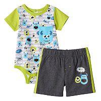 Disney / Pixar Monsters Inc. Baby Boy Mike & Sully Print Bodysuit & Shorts Set