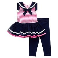 Baby Girl Youngland Striped Sailor TuTu Dress & Leggings Set