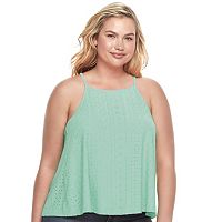 Juniors' Plus Size SO® Lace-Up Back Halter Top
