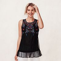Women's LC Lauren Conrad Embroidered Georgette Tank