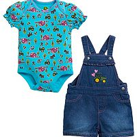 Baby Girl John Deere Farm Bodysuit & Embroidered Tractor Denim Shortalls