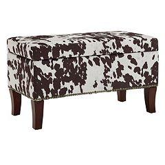 Linon Faux Cow Storage Ottoman Bench