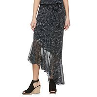 Juniors' Jolie Vie Print Asymmetrical Skirt