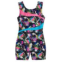 Girls 4-14 Jacques Moret Foil Splash Gym Biketard Leotard
