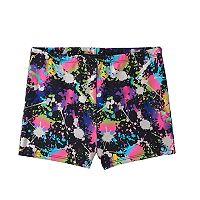 Girls 4-14 Jacques Moret Foil Splash Gym Micro Shorts