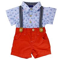 Baby Boy Baby Boyz Sailboat Bodysuit & Suspender Shorts Set