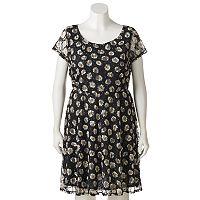 Juniors' Plus Size Wrapper Floral Lace A-Line Dress