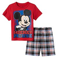 Disney's Mickey Mouse Toddler Boy Tee & Plaid Shorts Set