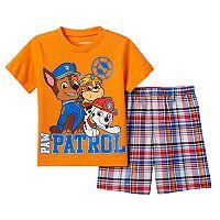 Toddler Boy Paw Patrol Chase, Marshall & Rubble Tee & Plaid Shorts Set