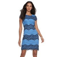Women's Sharagano Tow-Tone Lace Sheath Dress