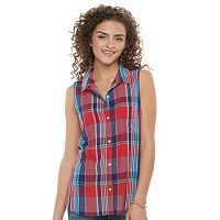 Juniors' SO® Pleated Sleeveless Shirt