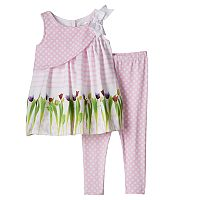 Toddler Girl Lavender by Us Angels Print Aline Top & Capri Leggings Set