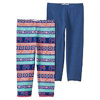 Girls 4-6x Freestyle Revolution 2-pk. Solid & Print Pom Pom Cuff Leggings Set
