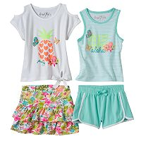Toddler Girl Freestyle Revolution Tropical Paradise Tank Top, Tee, Skirt & Shorts Set