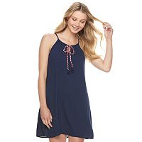 Juniors' Lily Rose Tie Front Shift Dress