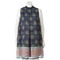Juniors' Plus Size Speechless Mosaic Mockneck Shift Dress
