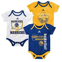 Baby adidas Golden State Warriors 3-Pack Bodysuit Set
