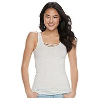 Juniors' SO® Double Scoop Crisscross Tank