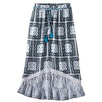 Disney D-signed Pirates of the Caribbean: Dead Men Tell No Tales Girls 7-16 Paisley Printed High-Low Maxi Skirt