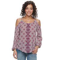 Juniors' Rewind Embroidered Print Cold-Shoulder Top