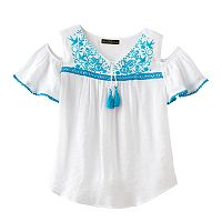 Disney D-signed Pirates of the Caribbean: Dead Men Tell No Tales Girls 7-16 Embroidered Cold Shoulder Gauze Top