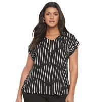 Plus Size Apt. 9 Zip Front Lattice Tee