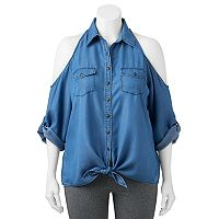 Juniors' Plus Size HeartSoul Cold Shoulder Chambray Blouse