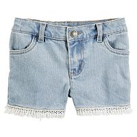 Toddler Girl Carter's Fringe Lace Trim Jean Shorts