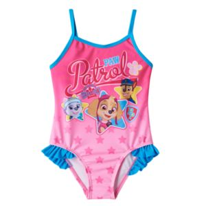 Toddler Girl Paw Patrol Everest, Skye & Chase Ruffle One-Piece Swimsuit
